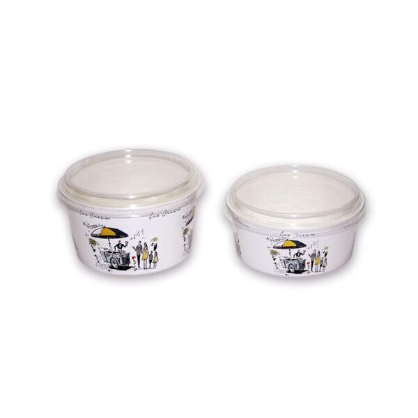 Plastic lid for ice cream bowl