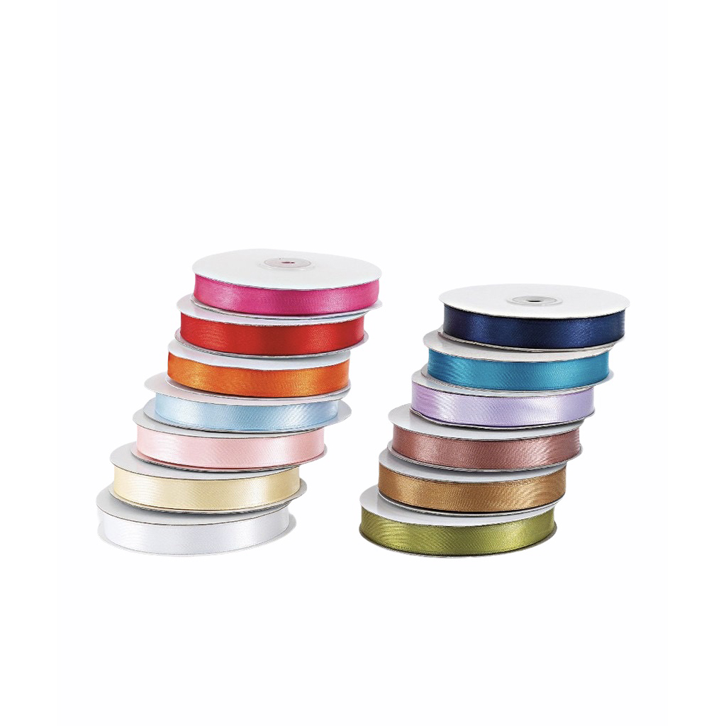 One-sided satin ribbons in various colors